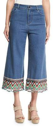 Alice + Olivia Beta Embroidered Pom-Pom Hem Cropped Jeans, Multi