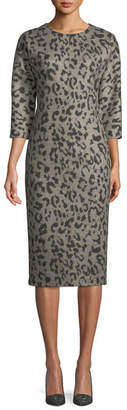 Max Mara Dramma Crewneck 3/4-Sleeve Leopard-Print Wool Sheath Dress