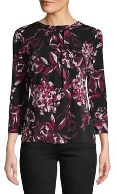 Karl Lagerfeld Paris Floral Bow Knit Top