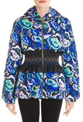 Emilio Pucci Printed Cinched Waist Puffer Jacket