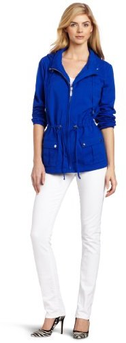 Chaus Women's Spandex Jersey Solid Hooded Zip Front Utility Jacket