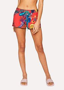 Paul Smith Women's Red 'Ocean' Print Swim Shorts