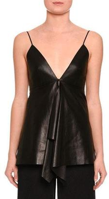 Valentino Leather V-Neck Ruffled Tank, Black $2,700 thestylecure.com