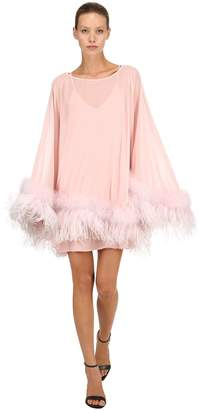Georgette Caftan Dress W/ Feathers
