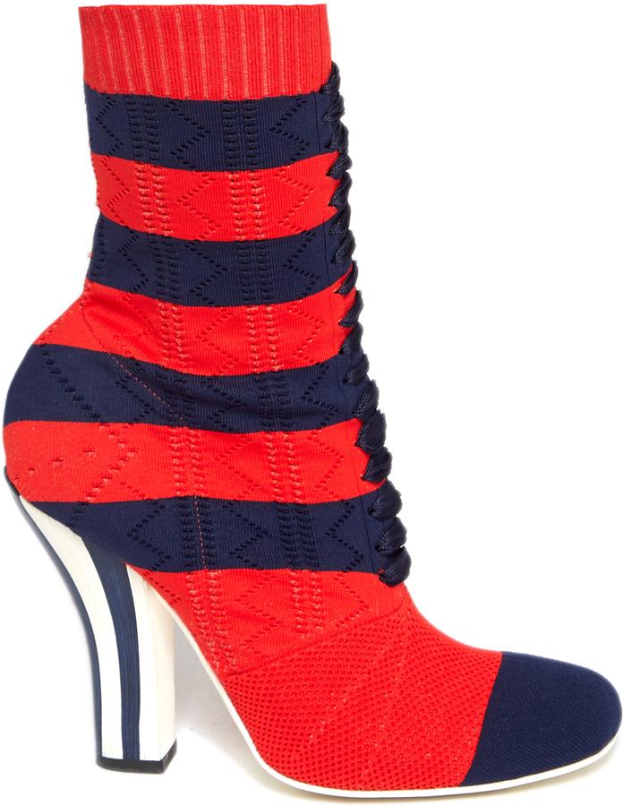 FENDI Striped sock boots