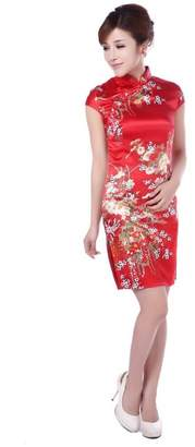 Shanghai Story Women's Faux Silk Cheongsam Qipao Chinese Style Dress 2XL