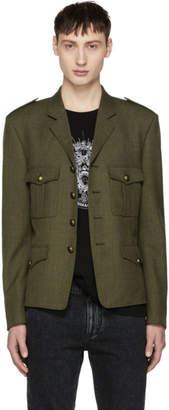 Saint Laurent Khaki Wool Military Blazer