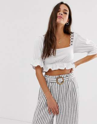 Asos Design DESIGN square neck crop top with lace trim