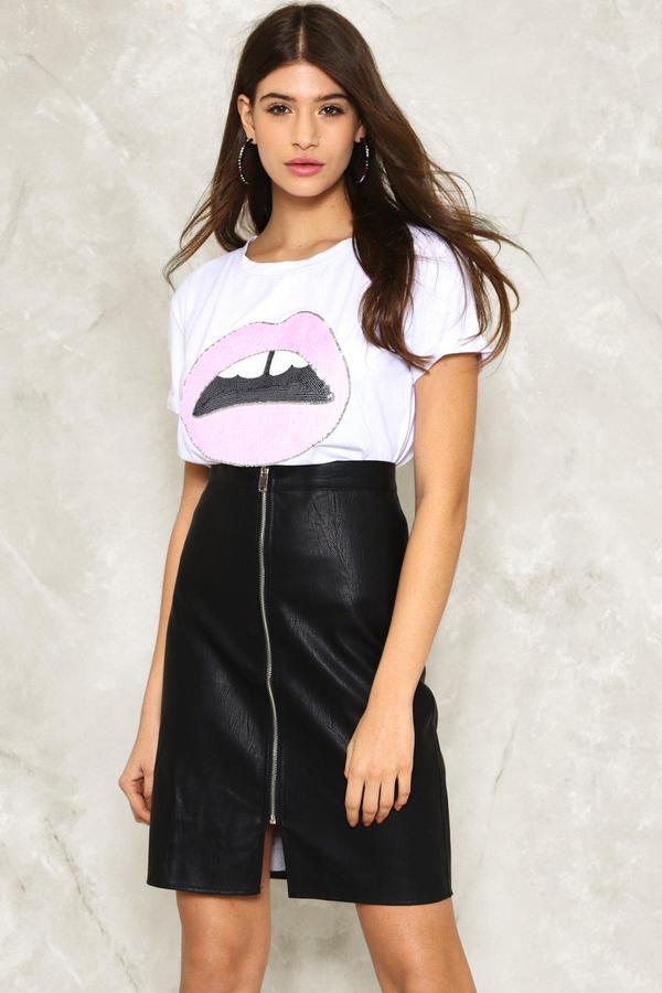 nastygal Zip It Vegan Leather Midi Skirt