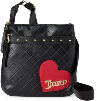 Juicy Couture Black Faux Leather Cross My Heart Crossbody