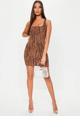 cc52896abe97 Missguided Rust Marble Printed Bodycon Mini Dress