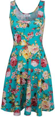 Toms Tom's Ware Womens Casual Fit and Flare Floral Sleeveless Dress TWCWD054-WHITENAVY-US M