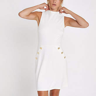 River Island Womens White ponte button side mini dress