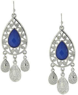 1928 Jewelry Silver-Tone Blue Filigree Teardrop Earrings