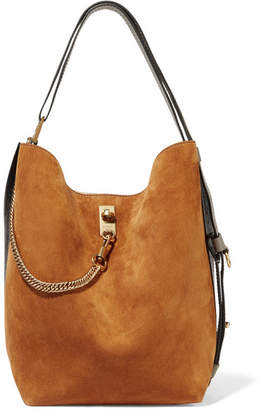 Givenchy Gv Bucket Suede And Textured-leather Shoulder Bag - Tan