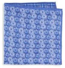 Saks Fifth Avenue Silk Floral Plaid Pocket Square