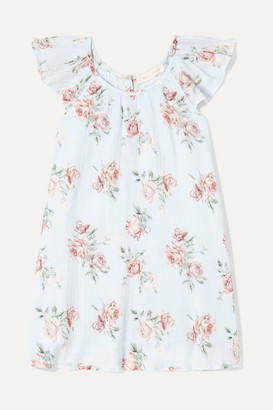 LoveShackFancy Kids - Lou Floral-print Crinkled-cotton Dress - Blue