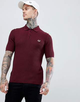 Fred Perry Reissues woven textured knitted polo in burgundy