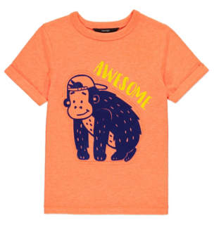 George Orange Monkey Print T-Shirt
