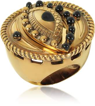 Roberto Cavalli Antique Goldtone Metal and Black Enamel Lucky Eye Symbol Ring