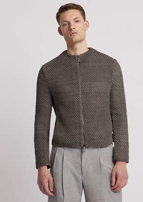 Emporio Armani Jacket In Hand-Woven Suede Leather