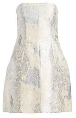 Halston Strapless Metallic Jacquard Bubble Dress
