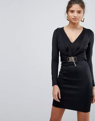 Lipsy V Neck Long Sleeve Dress With Chain Detail