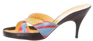 Charles Jourdan Patent Leather Slide Sandals