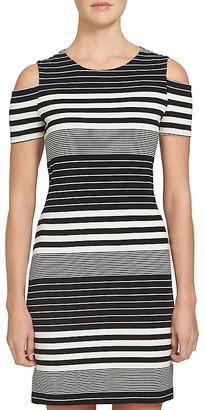 1.STATE Cold Shoulder Multi Stripe Knit Dress $99 thestylecure.com