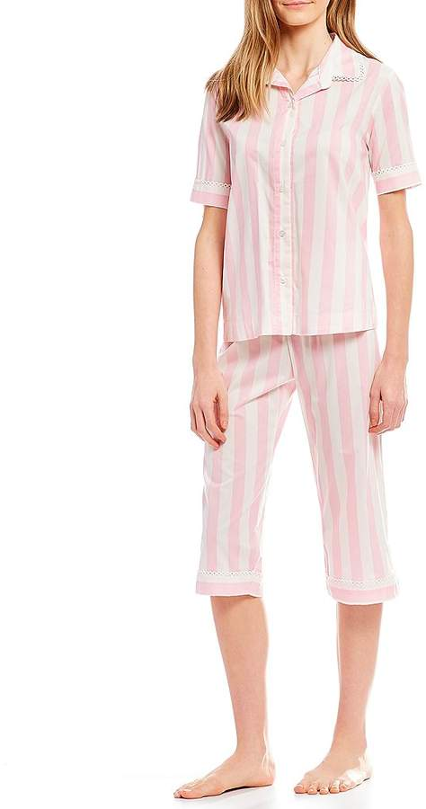 kate spade new york Striped-Print Lawn Cropped Pajama Set