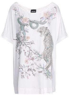 Just Cavalli Floral-Appliquéd Printed Stretch-Jersey T-Shirt