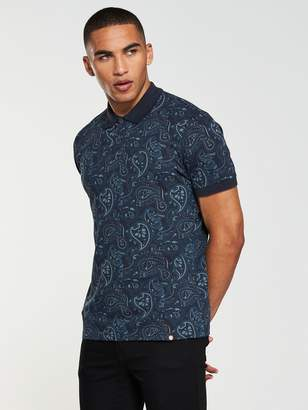 Pretty Green Ranson Aop Paisley Short Sleeved Polo