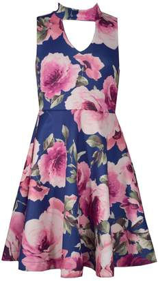 Bonnie Jean Girls 7-16 Floral Print Sleeveless Scuba Skater Dress