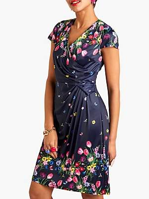 Yumi Floral Print Wrap Dress, Navy