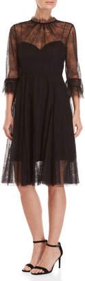 Carolina Herrera Black Lace Fit & Flare Dress