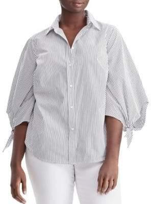 Lauren Ralph Lauren Plus Striped Bishop Sleeve Shirt