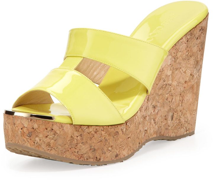 Jimmy Choo Porter Patent Leather Wedge Sandal, Yellow