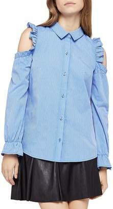 BCBGeneration Women's Cold-Shoulder Ruffled Pinstripe Shirt