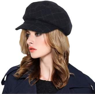 e9af2319b77 doublebulls hats Plaid Newsboy Cap Womens Ladies Winter Paperboy Cap 6  Pieces Cute Hat