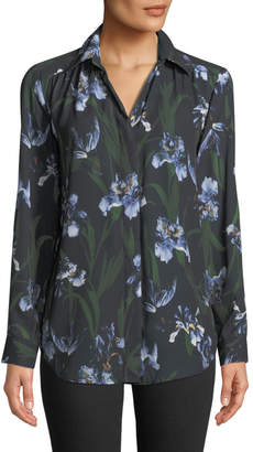 Joan Vass Long-Sleeve Floral Button-Front Top