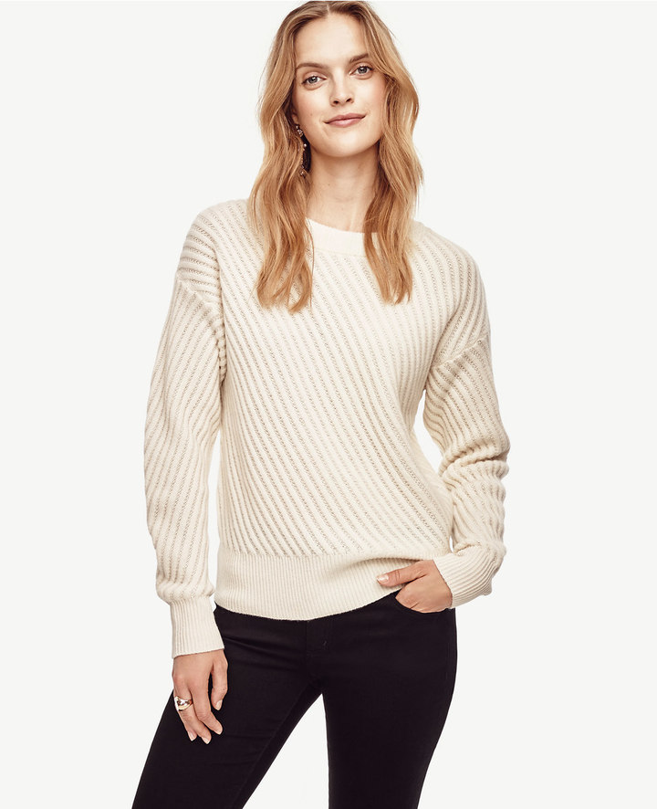 Ann Taylor Stitched Cashmere Sweater