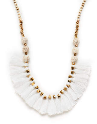 Panacea Pannee By White Howlite & Gold-Tone Tasseled Beaded Necklace