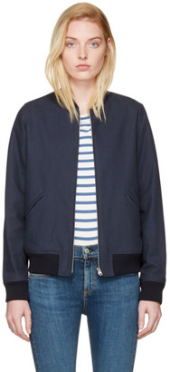 A.P.C. Navy Norma Bomber Jacket $425 thestylecure.com