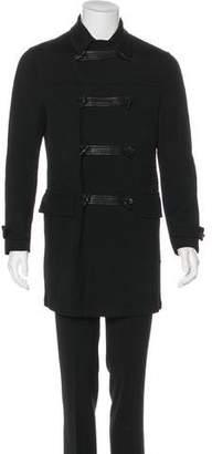 John Varvatos Leather-Trimmed Twill Coat