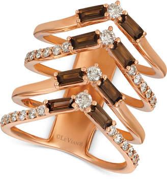 LeVian Le Vian Baguette Frenzy Smoky Quartz (9/10 ct. t.w.) & Nude Diamond (5/8 ct. t.w.) Chevron Statement Ring in 14k Rose Gold