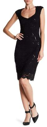 Marina Floral Lace Sheath Dress