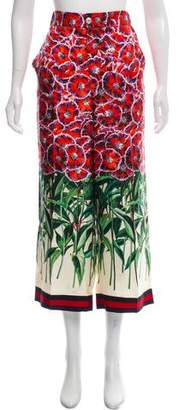 Gucci 2018 Poppy Garden Silk Pants
