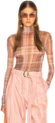 Acne Studios Sheer Plaid Turtleneck Top
