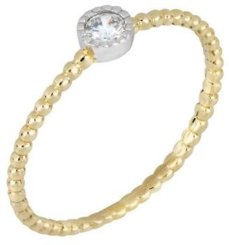 Bony Levy 18K Yellow & White Gold Bezel Set Diamond Solitaire Beaded Ring - 0.05 ctw