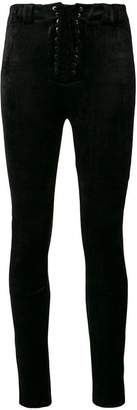 Unravel Project lace-up velour skinny trousers